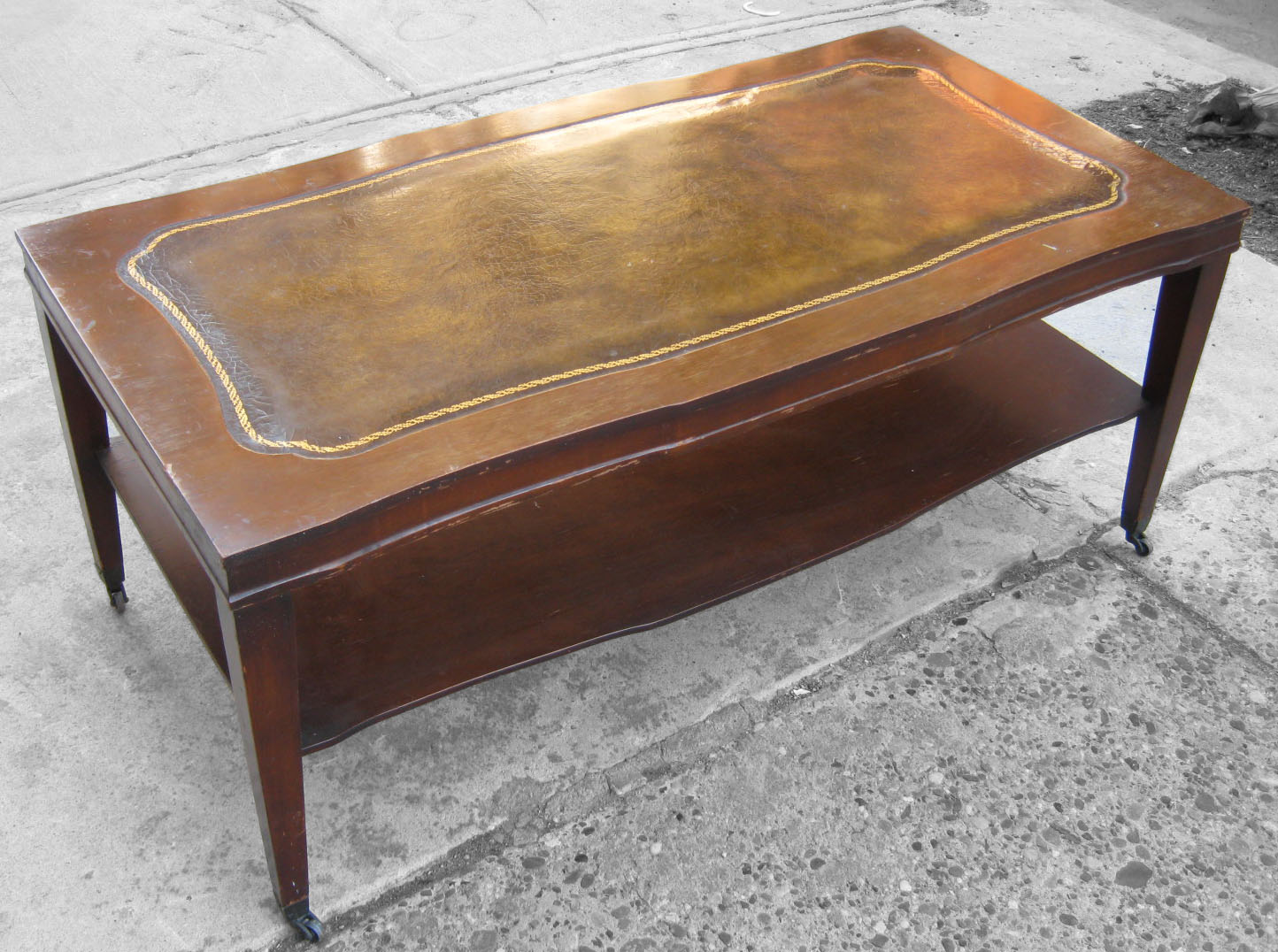 Uhuru Furniture & Collectibles: Leather Top Coffee Table SOLD