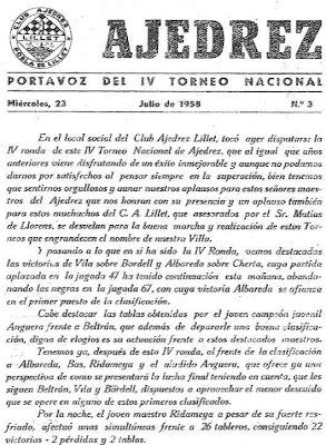 Extracto de un boletín que los organizadores del IV Torneo Nacional de Ajedrez de La Pobla de Lillet 1958 publicaban cada día (1)