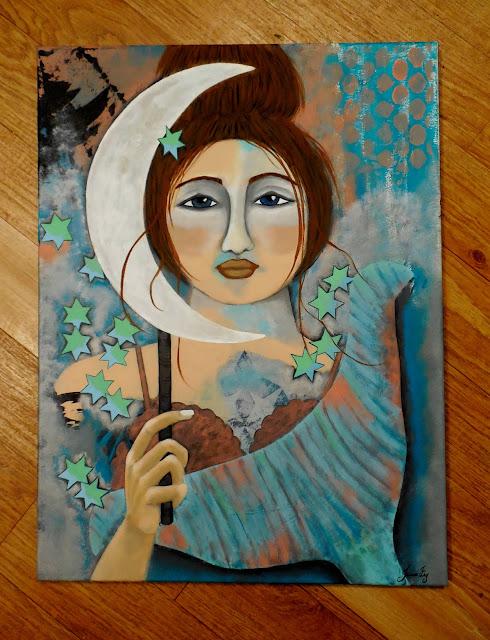Mermaid and Patina Moon Original Contemporary Folk Painting