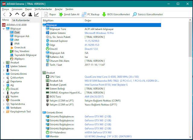 aida64 sistem özet bilgisi, bilgisayar özelliklerini gösteren program