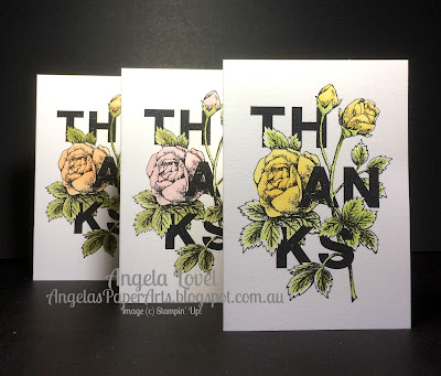 Stampin' Up! Floral Statements Thanks card by Angela Lovel, Angela's PaperArts