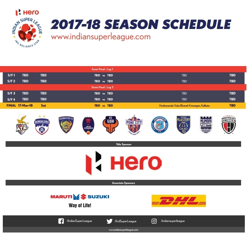 HERO INDIAN SUPER LEAGUE 2017-18 SEASON SCHEDULE.{www.techxpertbangla.com}