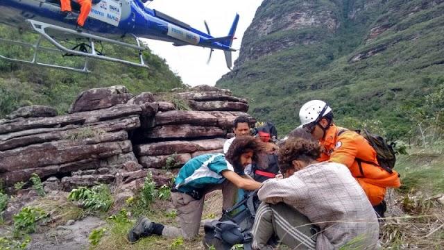 Turista é resgatado por Corpo de Bombeiros em trilha na região de Lençóis