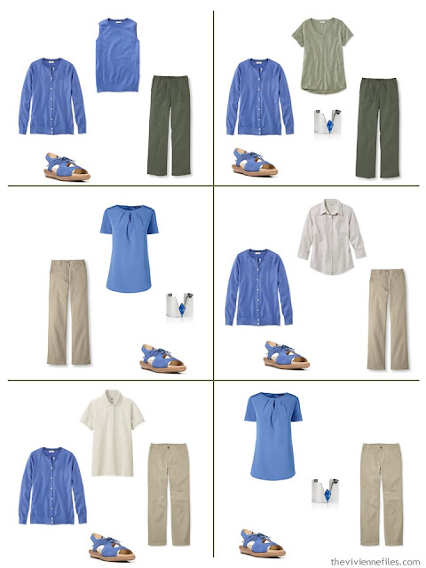 six outfits in khaki tan, olive green and French Blue for spring and summer