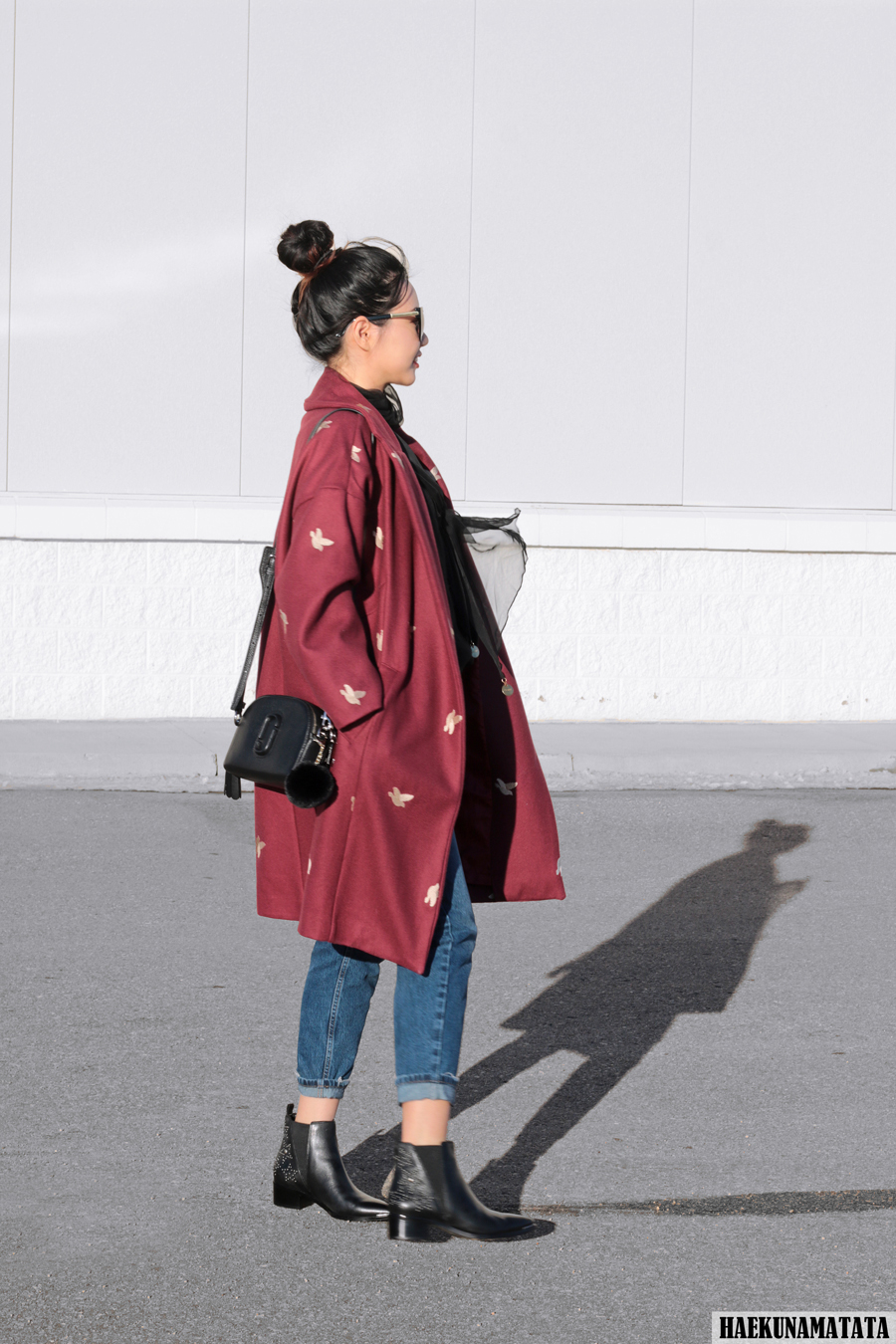 The Perfect Oversized Cacoon Coat - Burgundy / Topshop Mom Jeans, Marc Jacobs Shutter Bag, Marc Fisher Boots