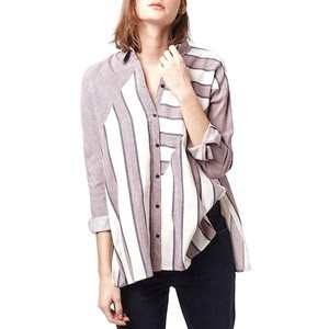 Stripe button front high/ low shirt, $46.90 from Topshop