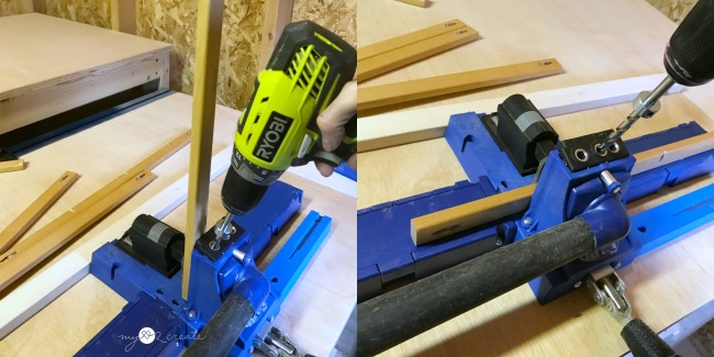 using a kreg jig to drill pocket holes