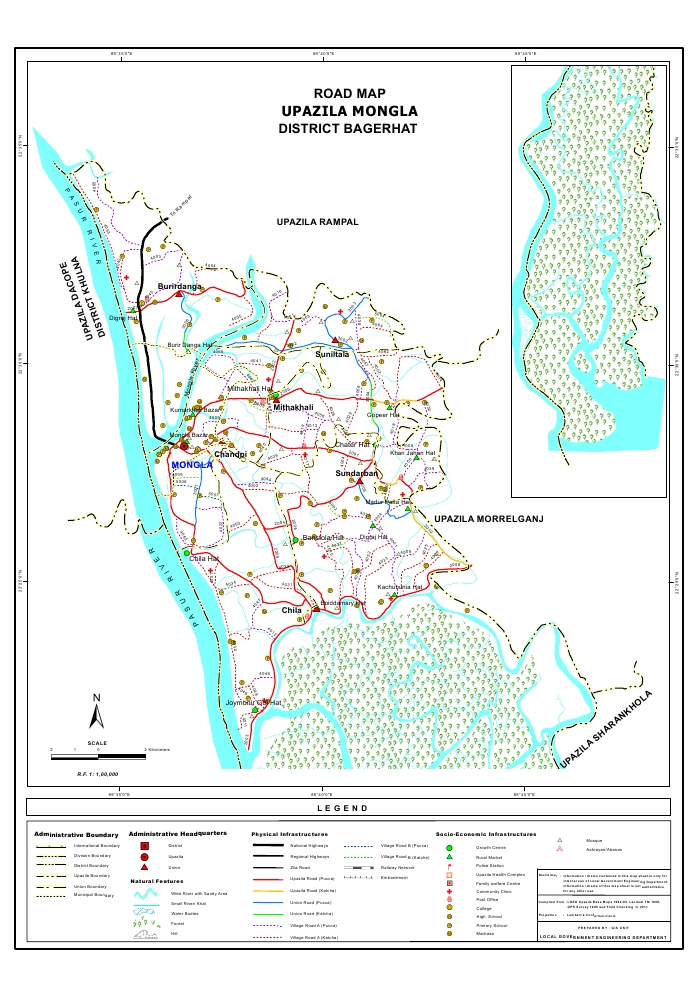 Mongla Upazila Road Map Bagerhat District Bangladesh