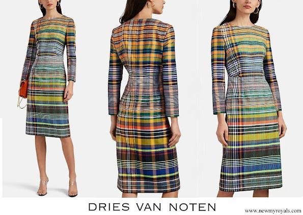 Queen Mathilde wore DRIES VAN NOTEN Plaid Madras Sheath Dress