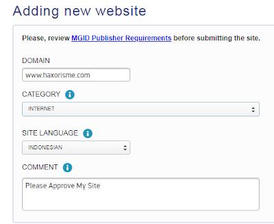 Mendaftarkan Situs Pada Mgid
