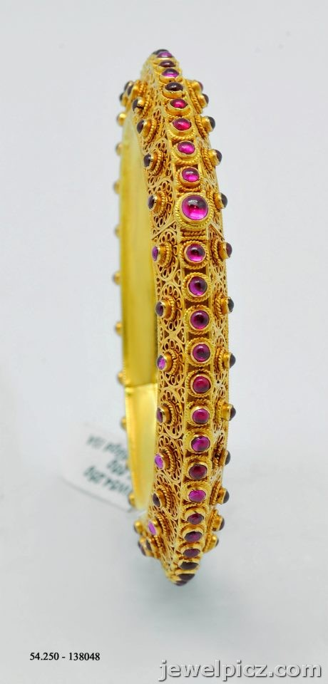 18k Yellow Gold Over Fine Silver Plated Bronze Indian