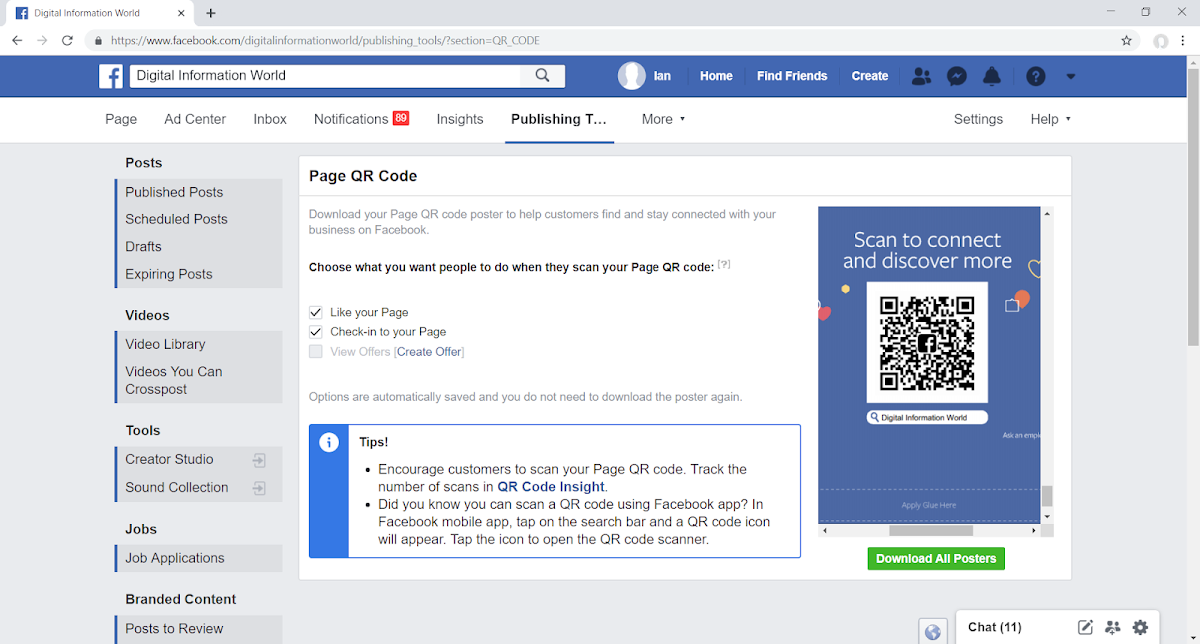 Facebook Introduces New QR Code Feature for Business Pages/Admins