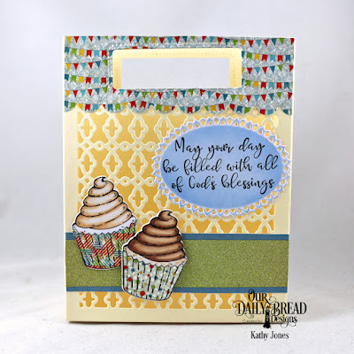 Our Daily Bread Designs Stamp/Die Duos:  All God's Blessings, Custom Dies: Card Caddy and Gift Bag, Gift Bag Handles and Topper, Layered Lacey Ovals, Paper Collections:  Birthday Bash, Old Glory