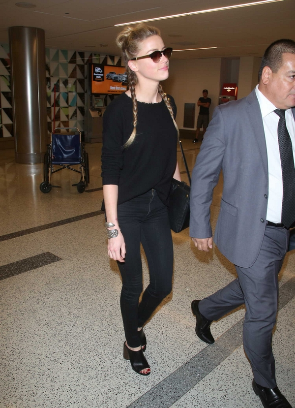Amber Heard at LAX in Givenchy shoes