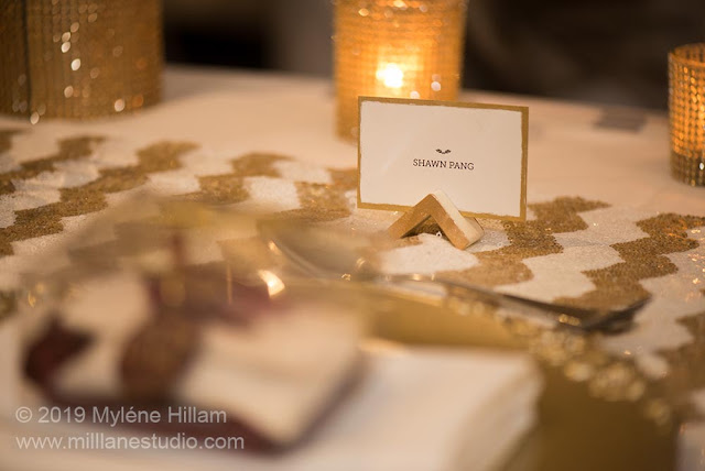 Place card holder on the bridal table.