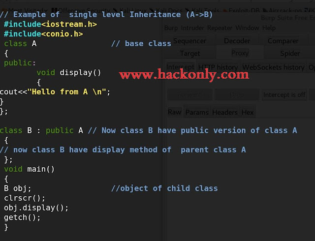 Example of  single level Inheritance  in c++