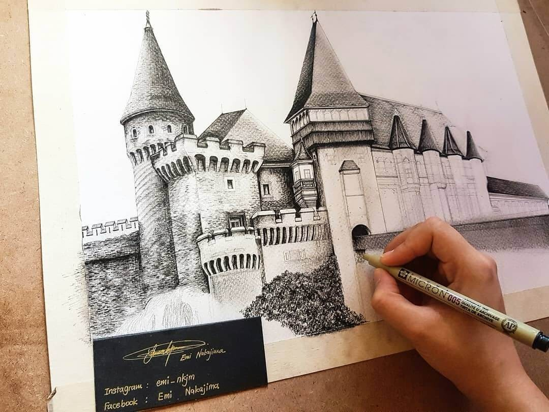 08-Corvin-Castle-Romania-Emi-Nakajima-Detailed-Architectural-Drawings-Real-and-Imaginary-www-designstack-co