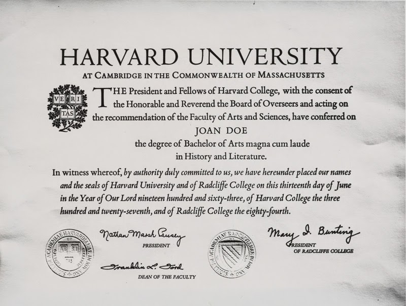 Harvard Diploma Template Free Download