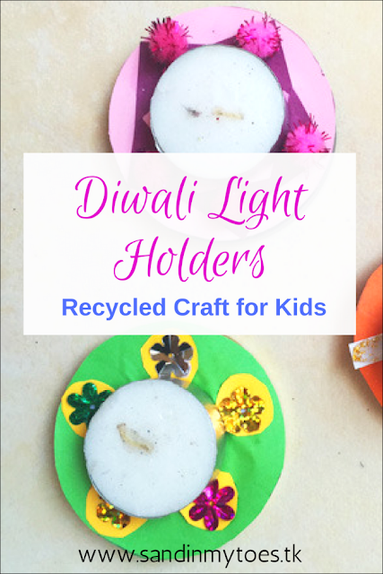 Pretty Diwali lights made with recycled jar lids - so much fun to make!