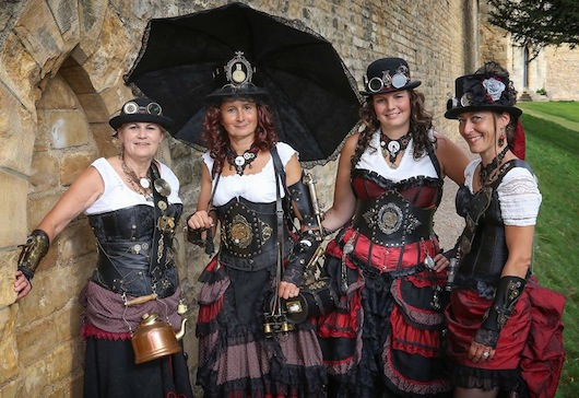Women's steampunk costumes for groups at festivals and conventions. How to plan, design and execute women's group costumes, matching and coordinating clothing