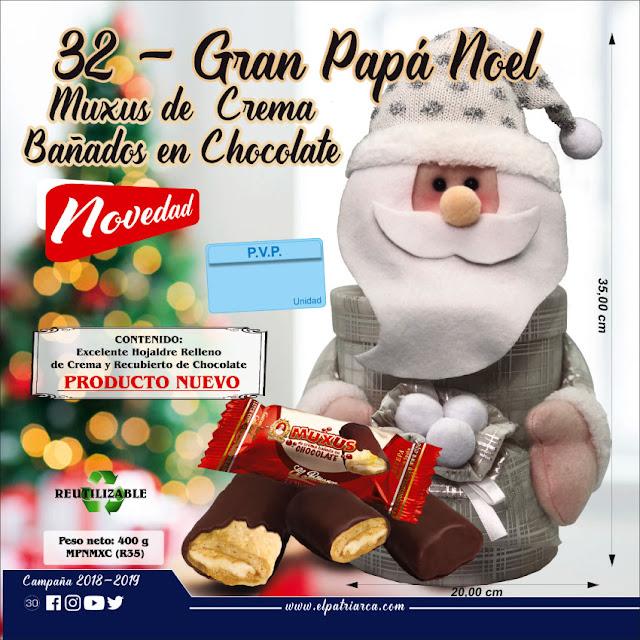Gran Papá Noel con Muxus de crema bañados en chocolate 500 g - Comercial H. Martin sa