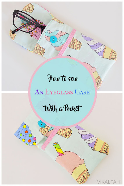 DIY eyeglass case with button and pocket