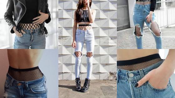 calca jeans com meia arrastao