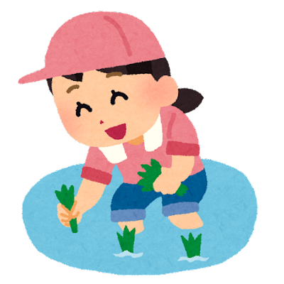 田植えをする女の子のイラスト
