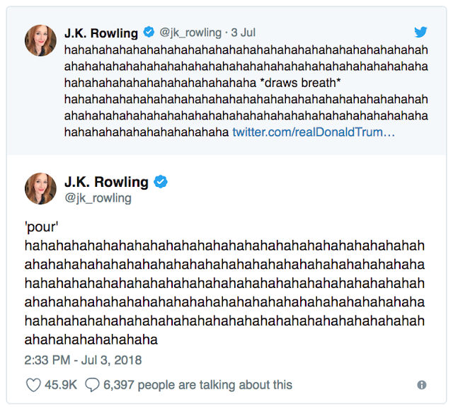 "July 3 @jk_rowling responding to Trump being a ""best-selling author"""