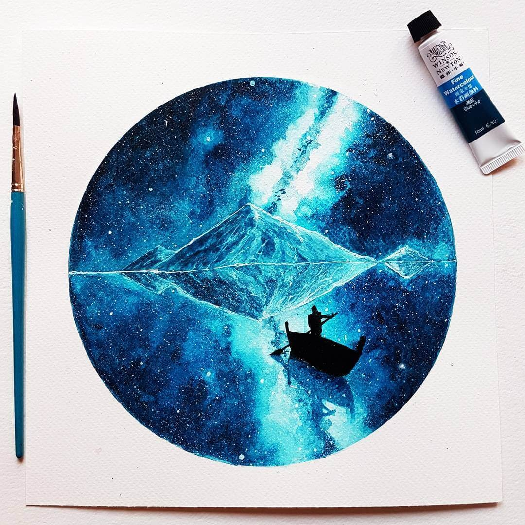 07-Waking-Up-04-Choice-Prakersh-Blue-and-Round-Fantasy-Watercolor-Paintings-www-designstack-co