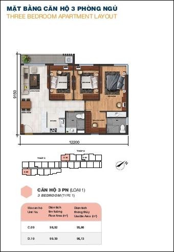 Sơ đồ mặt bằng căn hộ Jamila 3 phòng ngủ tháp D