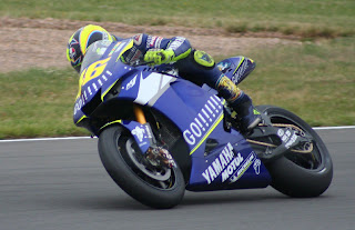 Valentino Rossi in action on the Yamaha YXR-M1 on which he won the 2005 MotoGP world title