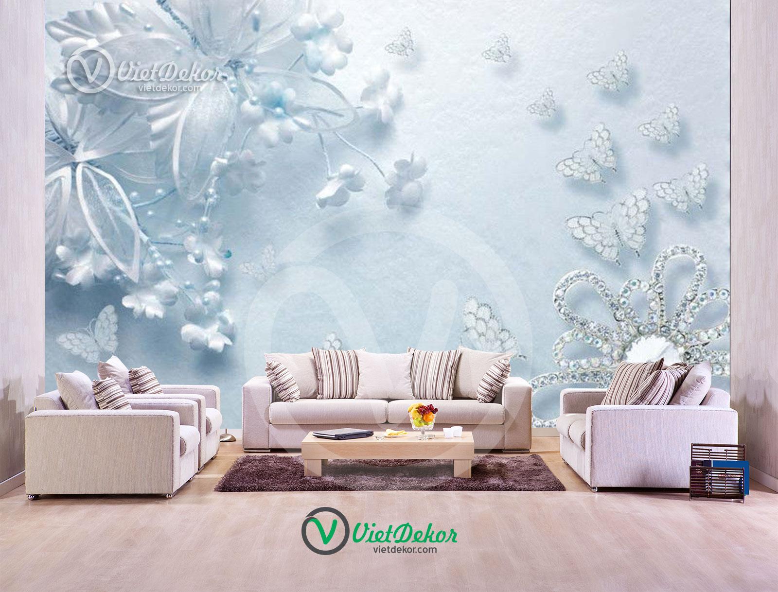 Tranh dán tường 3d hoa bướm ngọc trai trang sức