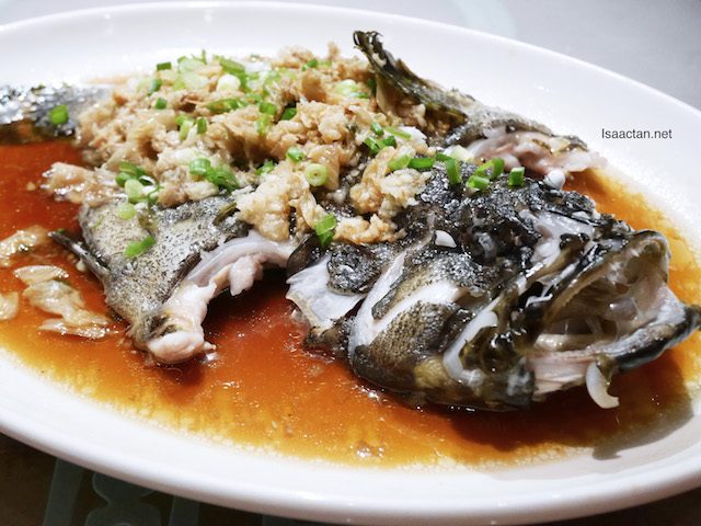 Steamed Omega Rich Garoupa Fish with preserved Vegetables in Soy Sauce