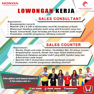 HONDA LAMPUNG RAYA Open Recruitment HONDA LAMPUNG RAYA April 2019