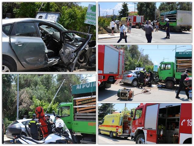 ΠΡΕΒΕΖΑ-Σφοδρή σύγκρουση φορτηγού με αυτοκίνητο