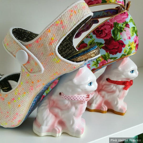 cat heeled shoes on shelf old and new