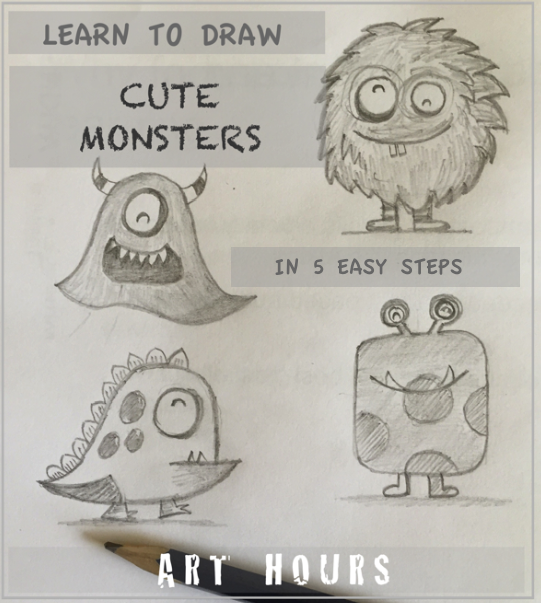 Archguide Cute Monster Sketches In 5 Easy Steps