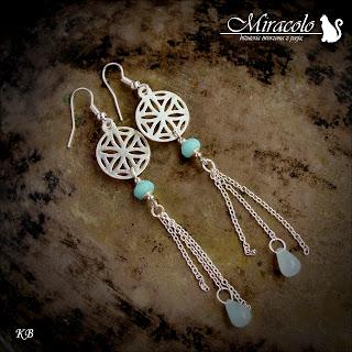 kolczyki z amazonitem i chalcedonem, amazonite earrings