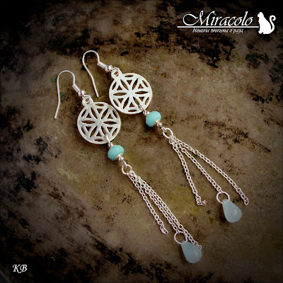 kolczyki z amazonitem i chalcedonem, amazonite earrings, Miracolo