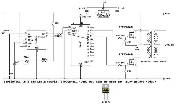 Rangkaian sederhana Inverter Pure Sine Wave 1500 Watt