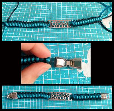 Terminación-pulsera-bicolor-macramé-Ideadoamano