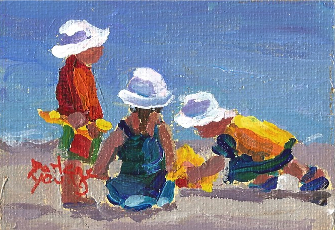 927 Beach Kidsminiature 25x33 Oil On Board