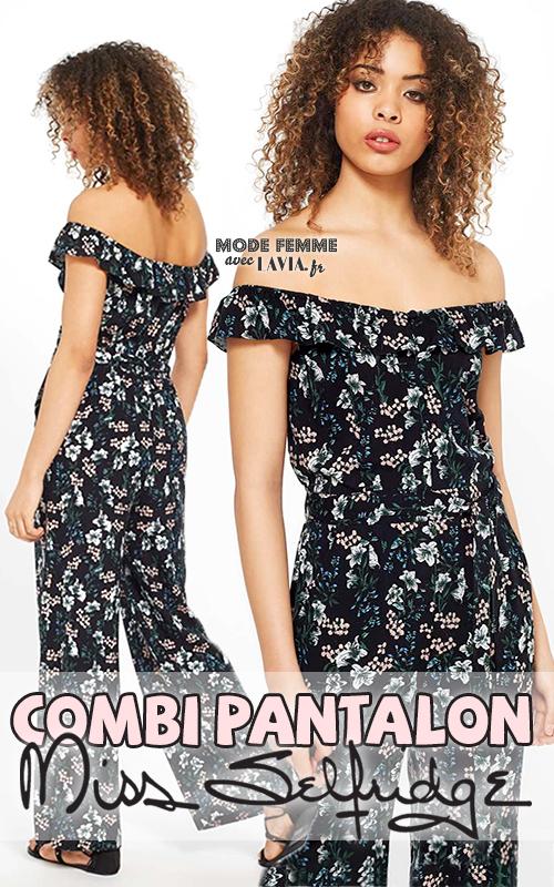 Combi-pantalon noire imprimée à fleurs MISS SELFRIDGE