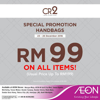 AEON Malaysia CR2 Handbags Discount Promo
