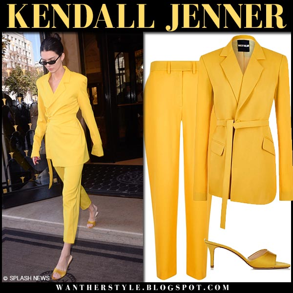 Kendall Jenner in yellow belted jacket and yellow pants house of holland fashion week outfits september 26