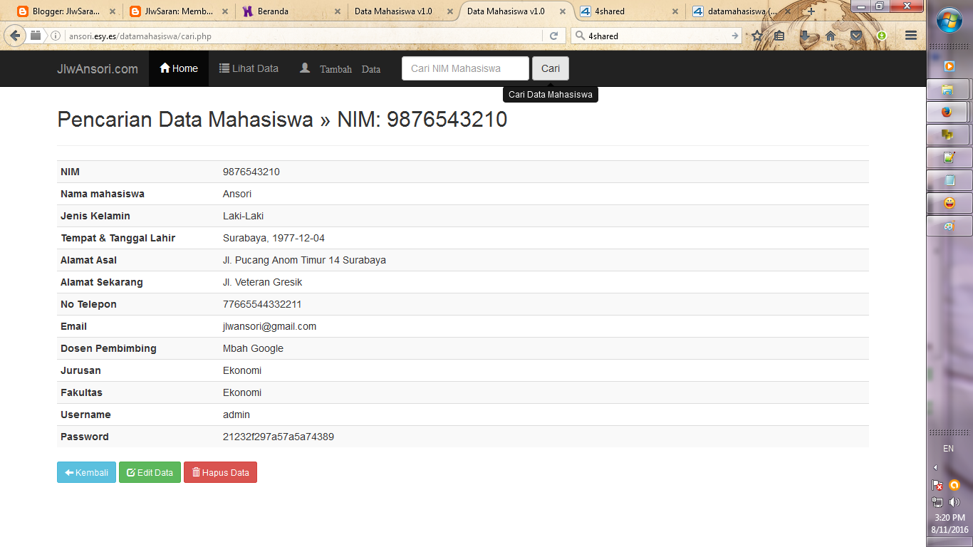 JlwSaran: Membuat Aplikasi Input Data Mahasiswa dengan PHP