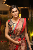 Tapsee Pannu Latest Stills in Red Silk Saree at Anando hma Pre Release Event .COM 0074.JPG