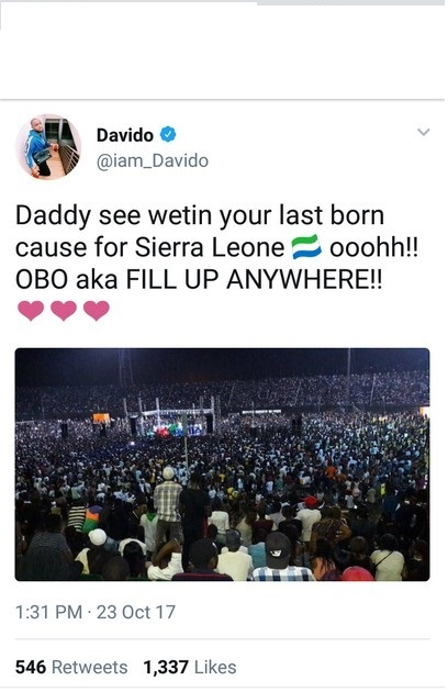 Davido brags about the crowd at his concert in Sierra Leone.