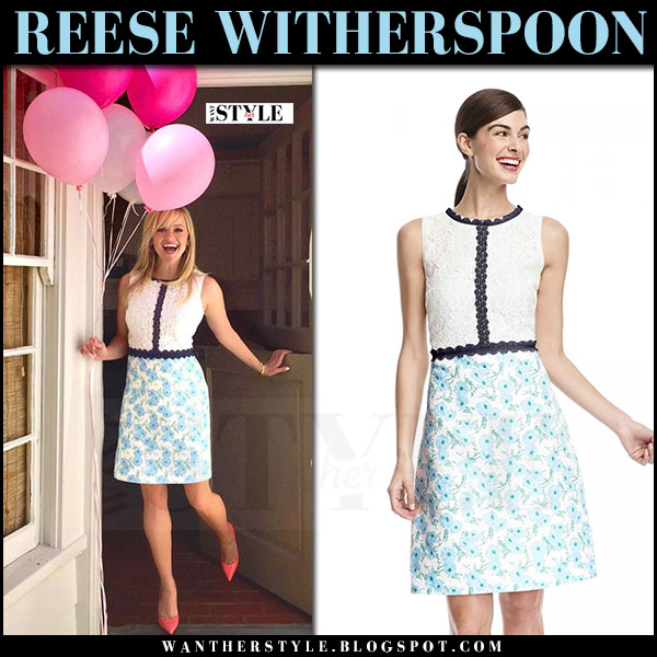 Reese Witherspoon in white and blue floral print lace dress draper james what she wore march 2017